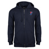 Navy Fleece Full Zip Hoodie-Split P