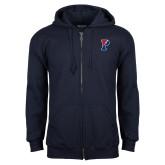 Navy Fleece Full Zip Hoodie-Split P
