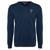 Classic Mens V Neck Navy Sweater-Split P