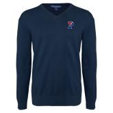 Classic Mens V Neck Navy Sweater-Split P