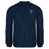V Neck Navy Raglan Windshirt-Split P