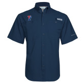 Columbia Tamiami Performance Navy Short Sleeve Shirt-Split P