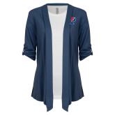 Ladies Navy Drape Front Cardigan-Split P