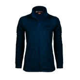 Ladies Fleece Full Zip Navy Jacket-PENN Wordmark