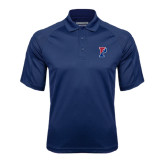 Navy Textured Saddle Shoulder Polo-Split P