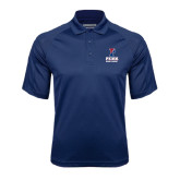 Navy Textured Saddle Shoulder Polo-Cross Country