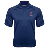 Navy Textured Saddle Shoulder Polo-Cheerleading