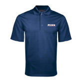 Navy Mini Stripe Polo-PENN Wordmark