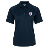 Ladies Navy Textured Saddle Shoulder Polo-PENN Shield