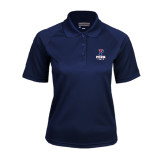 Ladies Navy Textured Saddle Shoulder Polo-Track