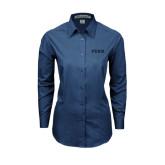 Ladies Deep Blue Tonal Pattern Long Sleeve Shirt-PENN Wordmark