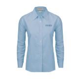 Ladies Light Blue Oxford Shirt-PENN Wordmark