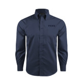 Red House Deep Blue Herringbone Long Sleeve Shirt-PENN Wordmark