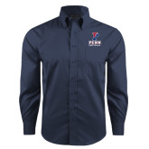 Red House Deep Blue Herringbone Non Iron Long Sleeve Shirt-Softball
