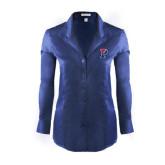 Ladies Red House Deep Blue Herringbone Non Iron Long Sleeve Shirt-Split P