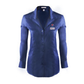 Ladies Red House Deep Blue Herringbone Non Iron Long Sleeve Shirt-Basketball
