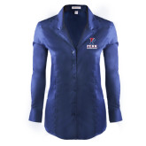 Ladies Red House Deep Blue Herringbone Non Iron Long Sleeve Shirt-Cheerleading