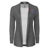 Ladies Heather Grey Open Front Cardigan-Split P