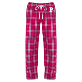 Ladies Dark Fuchsia/White Flannel Pajama Pant-Split P