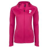 Ladies Tech Fleece Full Zip Hot Pink Hooded Jacket-Split P