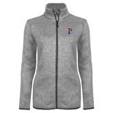 Grey Heather Ladies Fleece Jacket-Split P