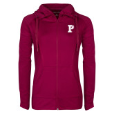 Ladies Sport Wick Stretch Full Zip Deep Berry Jacket-Split P