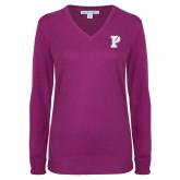 Ladies Deep Berry V Neck Sweater-Split P