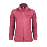 Ladies Fleece Full Zip Raspberry Jacket-PENN Wordmark