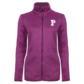 Dark Pink Heather Ladies Fleece Jacket-Split P