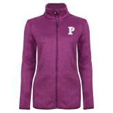Dark Pink Heather Ladies Fleece Jacket-Split P