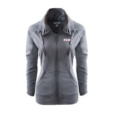 Ladies Sport Wick Stretch Full Zip Charcoal Jacket-PENN Wordmark