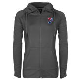 Ladies Sport Wick Stretch Full Zip Charcoal Jacket-Split P