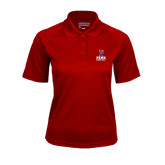Ladies Cardinal Textured Saddle Shoulder Polo-Basketball