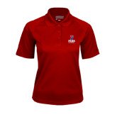 Ladies Cardinal Textured Saddle Shoulder Polo-Baseball
