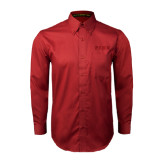 Cardinal Twill Button Down Long Sleeve-PENN Wordmark