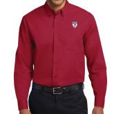 Cardinal Twill Button Down Long Sleeve-PENN Shield