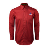 Cardinal Twill Button Down Long Sleeve-Softball