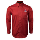 Cardinal Twill Button Down Long Sleeve-Cheerleading