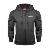 Charcoal Fleece Full Zip Hood-PENN Wordmark