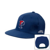 Navy Flat Bill Snapback Hat-Split P