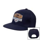 Navy Flat Bill Snapback Hat-The Palestra