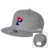 Heather Grey Wool Blend Flat Bill Snapback Hat-Split P