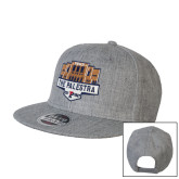 Heather Grey Wool Blend Flat Bill Snapback Hat-The Palestra