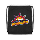 Black Drawstring Backpack-Peoria Rivermen Secondary Mark