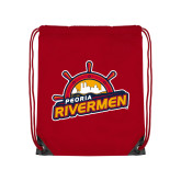 Red Drawstring Backpack-Peoria Rivermen Secondary Mark