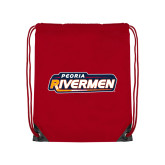 Red Drawstring Backpack-Peoria Rivermen - Hockey Stick