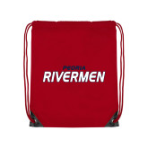 Red Drawstring Backpack-Peoria Rivermen