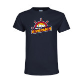 Youth Navy T Shirt-Peoria Rivermen Secondary Mark