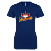 Next Level Ladies SoftStyle Junior Fitted Navy Tee-Peoria Rivermen Secondary Mark