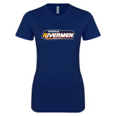 Next Level Ladies SoftStyle Junior Fitted Navy Tee-Peoria Rivermen - Hockey Stick